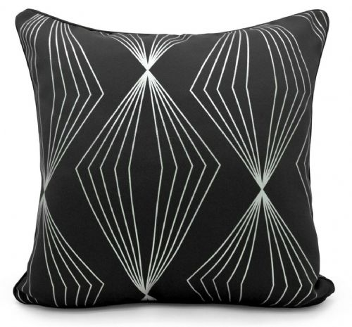 Geometric Onyx Metallic Foil Print Design Filled Scatter Cushion Black Silver